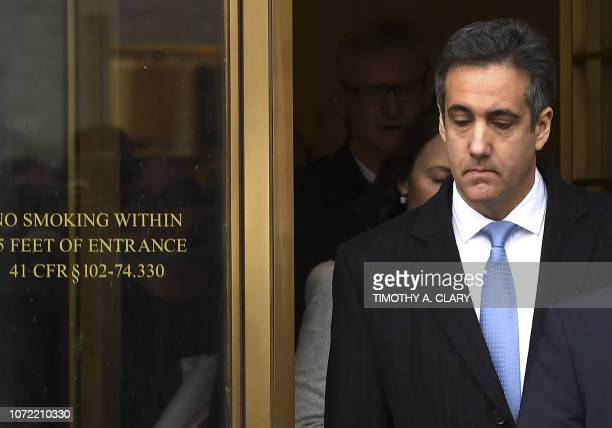 President Donald Trumps former attorney Michael Cohen leaves US Federal Court in New York on December 12, 2018 after his sentencing after pleading...