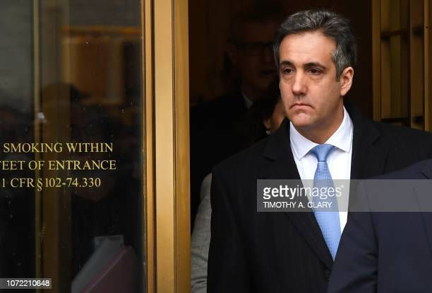 US President Donald Trumps former attorney Michael Cohen leaves US Federal Court in New York on December 12 2018 after his sentencing after pleading...