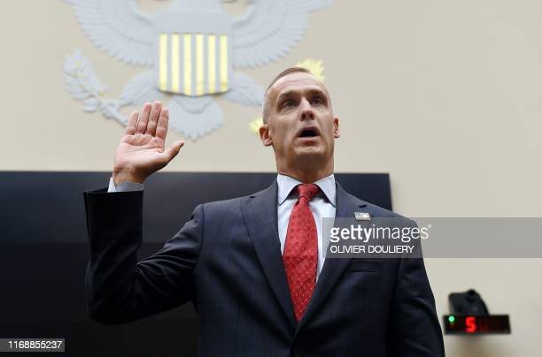 President Donald Trump's former campaign manager Corey Lewandowski is swornin as he testifies during a House Judiciary Committee as part of a...