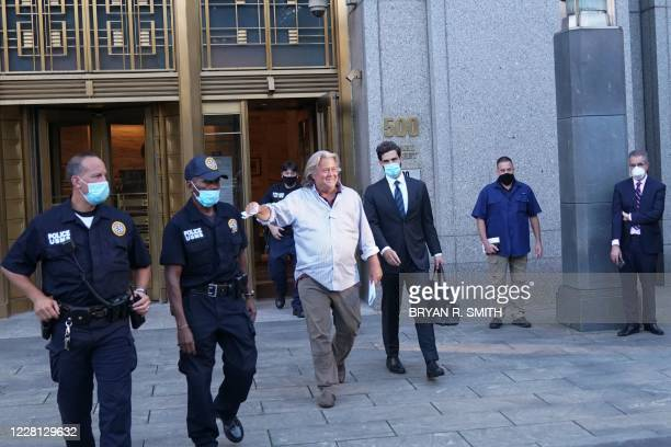 President Donald Trump's former Chief Strategist Stephen Bannon exits Manhattan Federal Court following his arraignment on fraud charges over...