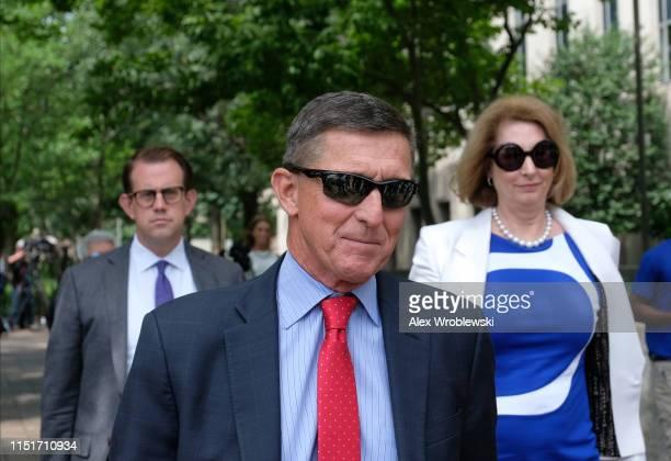 President Donald Trump's former National Security Adviser Michael Flynn leaves the E Barrett Prettyman US Courthouse on June 24 2019 in Washington DC...