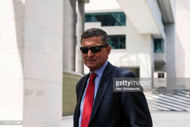 President Donald Trump's former National Security Adviser Michael Flynn leaves the E Barrett Prettyman US Courthouse on June 24 2019 in Washington DC...
