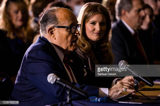 President Donald Trump's lawyer Rudy Giuliani speaks during a Pennsylvania Senate Majority Policy Committee public hearing Wednesday at the Wyndham...