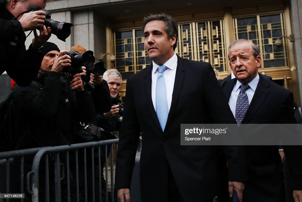 President Donald Trump's long-time personal attorney Michael Cohen exits a New York court on April 16, 2018 in New York City. Trump's lawyers on Sunday night asked a federal judge to temporarily block prosecutors from reviewing files seized by the FBI from Cohen's offices and hotel room last week. Trump's lawyers have argued that many of the documents are protected by attorney-client privilege.
