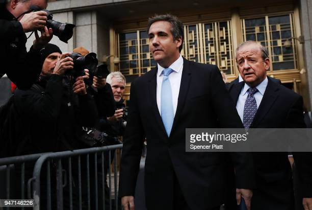 President Donald Trump's longtime personal attorney Michael Cohen exits a New York court on April 16 2018 in New York City Trump's lawyers on Sunday...