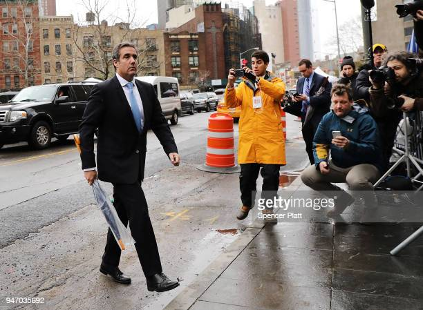 President Donald Trump's longtime personal attorney Michael Cohen arrives at a New York court on April 16 2018 in New York City Trump's lawyers on...