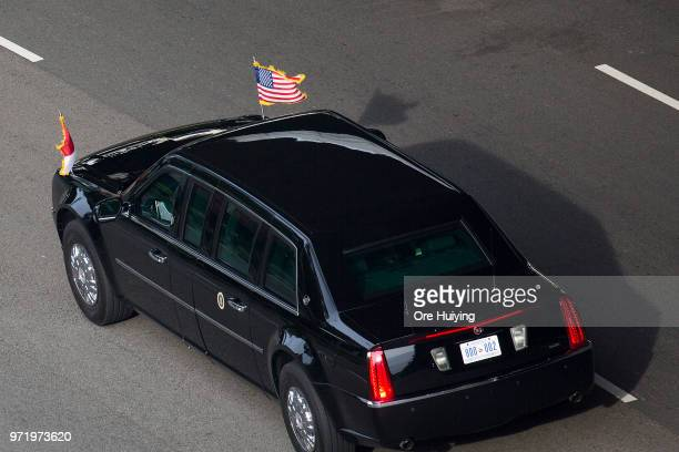 President Donald Trump's motorcade departs Sentosa island on June 12, 2018 in Singapore. U.S. President Trump and North Korean leader Kim Jong-un...