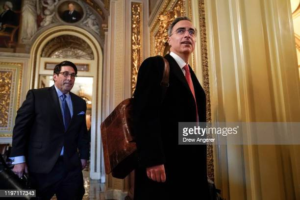 President Donald Trump's personal lawyer Jay Sekulow and White House counsel Pat Cipollone arrive at the Senate chamber for the Senate impeachment...