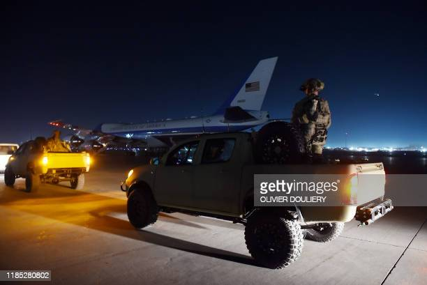 President Donald Trump's plane Air Force One is seen on the tarmac during a surprise Thanksgiving day visit at Bagram Air Field, on November 28, 2019...