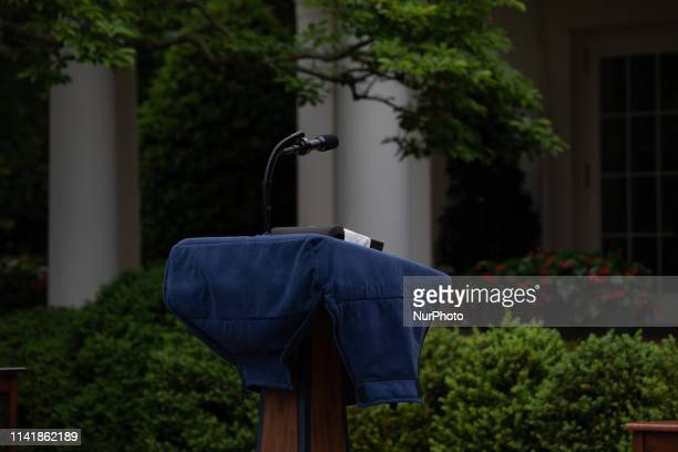 President Donald Trump's podium is covered before his presentation of the CommanderinChief's Trophy to the US Military Academy football team the Army...