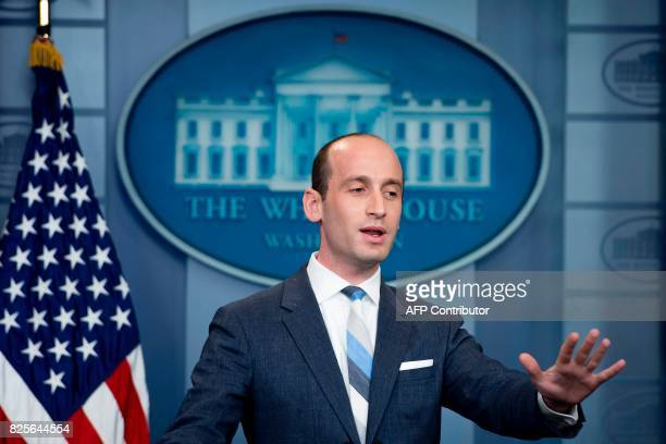 President Donald Trump's senior advisor for policy Stephen Miller speaks during the Daily Briefing at the White House in Washington DC on August 2...