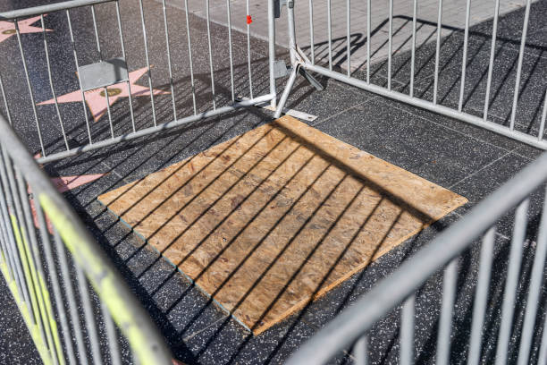 CA: Donald Trump Hollywood Walk Of Fame Star Caged And Boarded Up