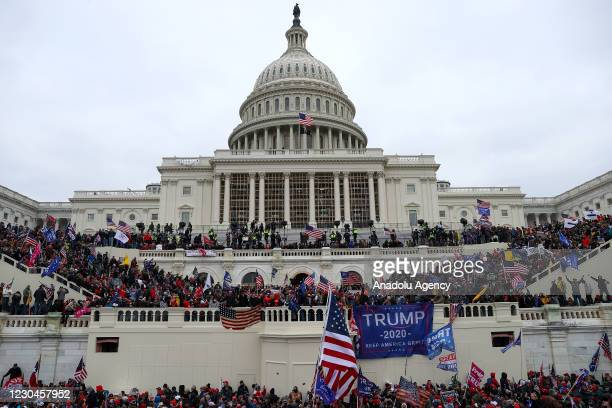 President Donald Trumps supporters gather outside the Capitol building in Washington D.C., United States on January 06, 2021. Pro-Trump rioters...