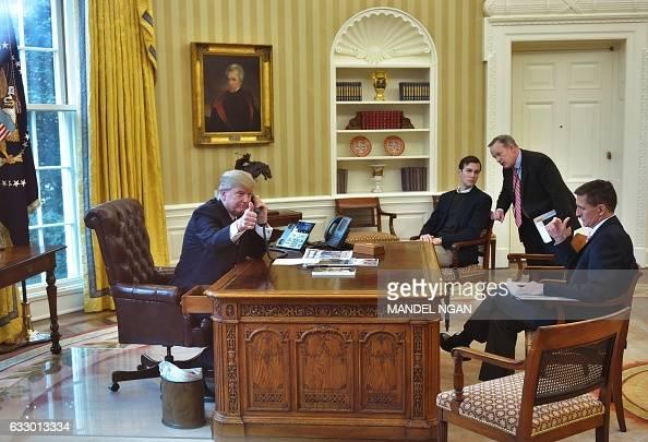 President Donald Trumpseen Through An Oval Office Window