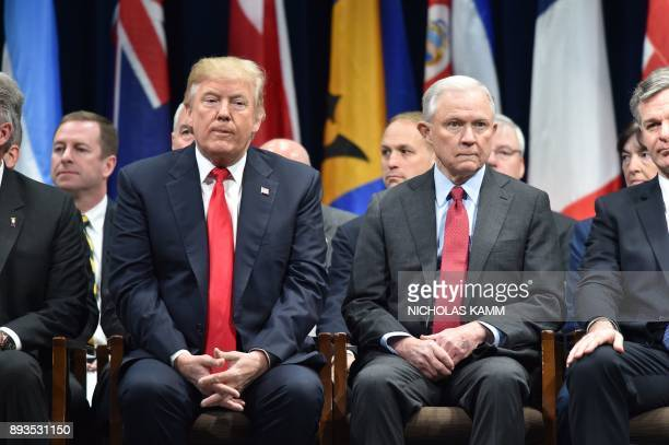 US President Donald Trumpsits with Attorney General Jeff Sessions on December 15 2017 in Quantico Virginia before participating in the FBI National...