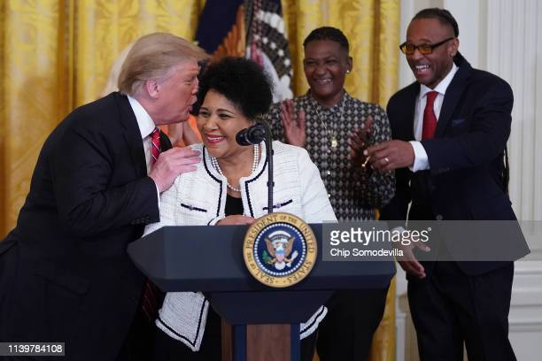S President Donald Turmp asks Alice Marie Johnson Are you sure after she thanked the press during a celebration of the First Step Act in the East...