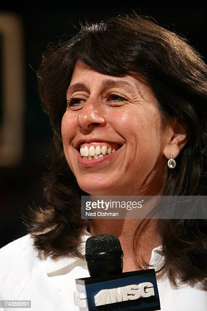 President Donna Orender smiles during an interview as part of Dads and Daughters Day during the Phoenix Mercury against the New York Liberty on June...