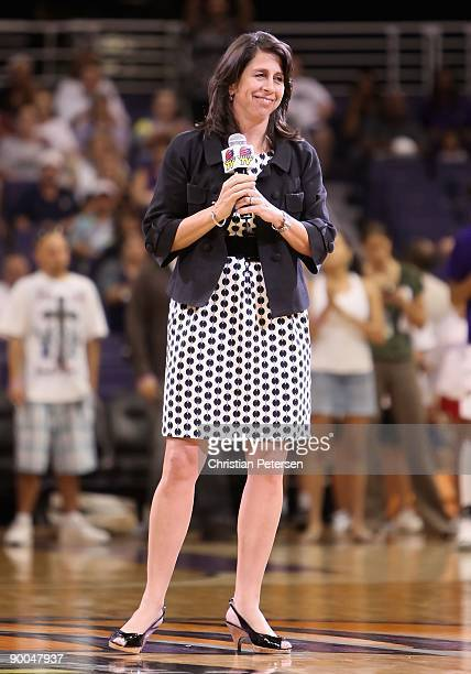 President Donna Orender speaks before the WNBA game between the Washington Mystics and the Phoenix Mercury at US Airways Center on August 21 2009 in...