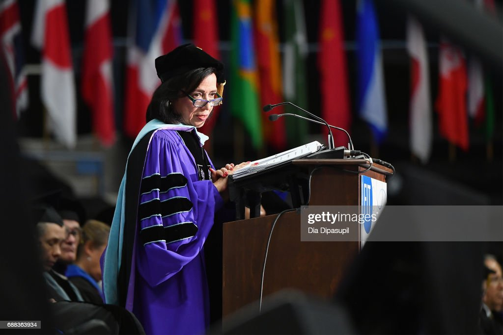 President Dr. Joyce F. Brown speaks onstage during The Fashion Institute of Technology's 2017 Commencement Ceremony at Arthur Ashe Stadium on May 25, 2017 in New York City.