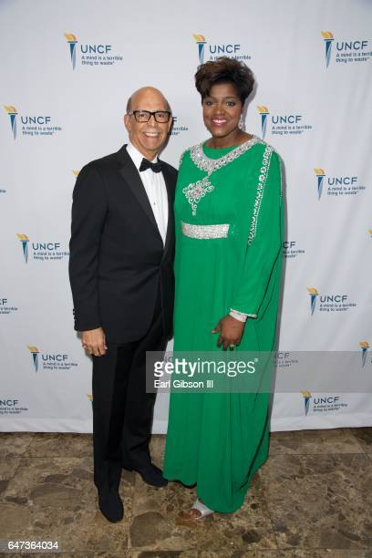UNCF President Dr Michael Lomax and International President of Alpha Kappa Alpha Sorority Dorothy Buckhanan attend the UNCF New York Gala Dinner on...