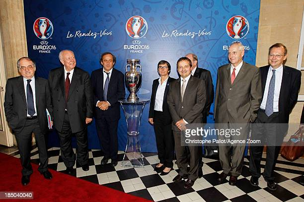President du Club des Sites Maurice Vincent Sports Minister Valerie Fourneyron UEFA President Michel Platini President of the Euro 2016 SAS Jacques...