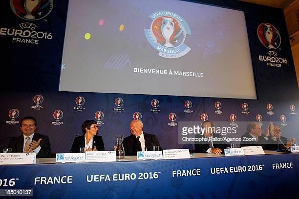 President du Club des Sites Maurice Vincent Sports Minister Valerie Fourneyron Mayor of Marseille Jean Claude Gaudin UEFA President Michel Platini...