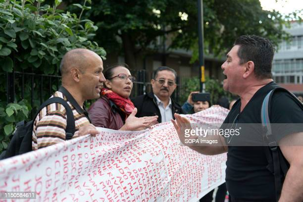 President Duque suporter confronting to the anti Ivan Duque demonstrators during a protest against Ivan Duque visit in London Colombian community met...