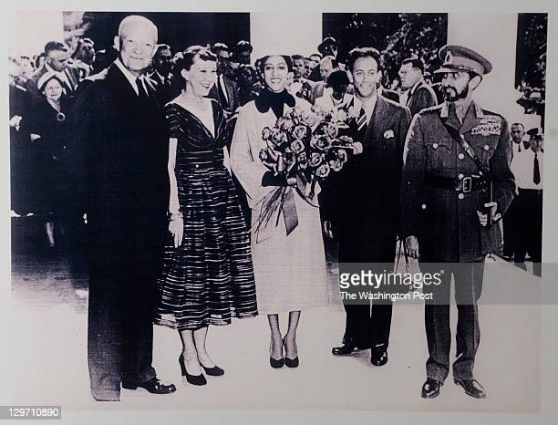 President Dwight D Eisenhower his wife Mamie Eisenhower Princess Seble Desta Prince Sahle Salessie and Emperor of Ethiopia Haile Selassie are seen at...