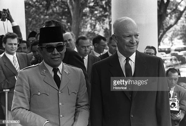 US President Dwight D Eisenhower meets with Sukarno the first President of Indonesia after the country gained its independence from the Dutch in 1945...
