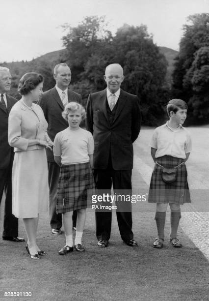 President Dwight D Eisenhower of America during his current visit to this country with Queen Elizabeth II Prince of Wales and Princess Anne Major...