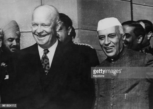President Dwight D. Eisenhower with Indian Prime Minister Jawaharlal Nehru at the Rashtrapati Bhavan in New Delhi, during Eisenhower's Goodwill Tour,...