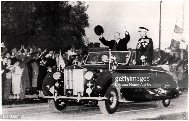 US President Dwight Eisenhower and King Paul of Greece Standing in Convertible Car Athens Greece 1959