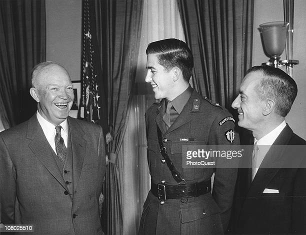 US President Dwight Eisenhower shares a laugh with the Crown Prince of Greece and Greek Ambassador to the US Alexis S Liatis at the White House...