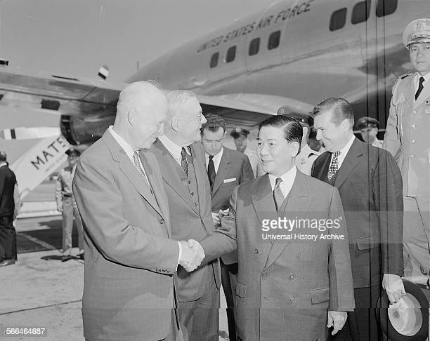 US President Dwight Eisenhower with John Foster Dulles and South Vietnam President Ngo Dinh Diem Washington 1957