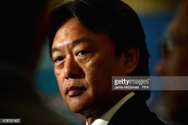 President Eduardo Li talks to the media during a FIFA U17 Womens World Cup press conference at the Hotel Intercontinental on March 14 2014 in San...