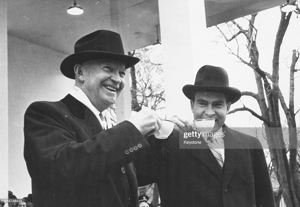 President Eisenhower And Richard Nixon : News Photo