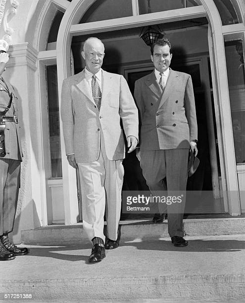 President Eisenhower and Vice President Richard Nixon leave the summer White House at Lowry after a conference Nixon in is Colorado to appear with...