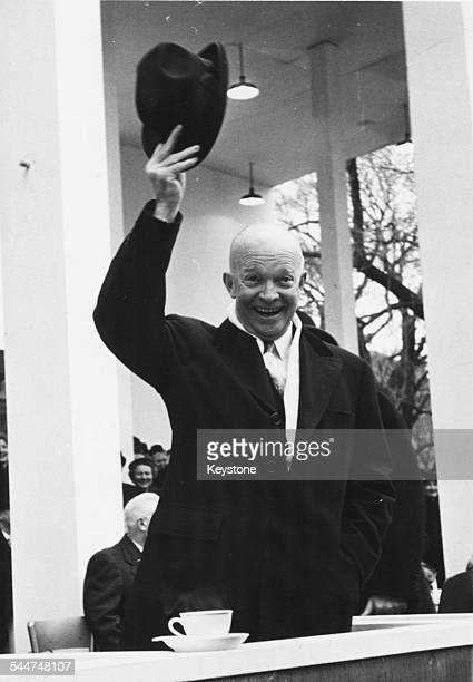 President Eisenhower raising his hat with a smile, at his second Presidential Inauguration in Washington DC, January 21st 1957.