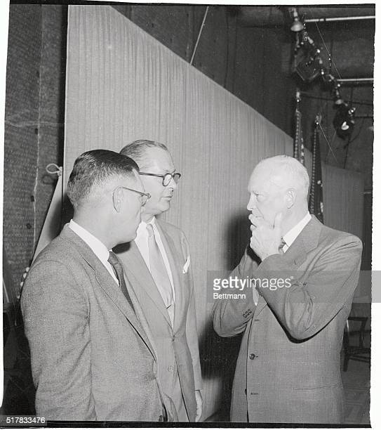 President Eisenhower seems to be getting some first hand opinions on his TV style from his News Secretary James Hagerty and Television Director...