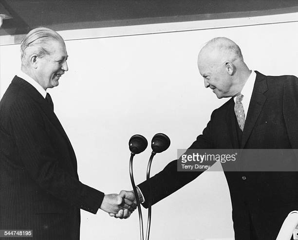 President Eisenhower shaking hands with Prime Minister Harold Macmillan at London Airport August 27th 1959