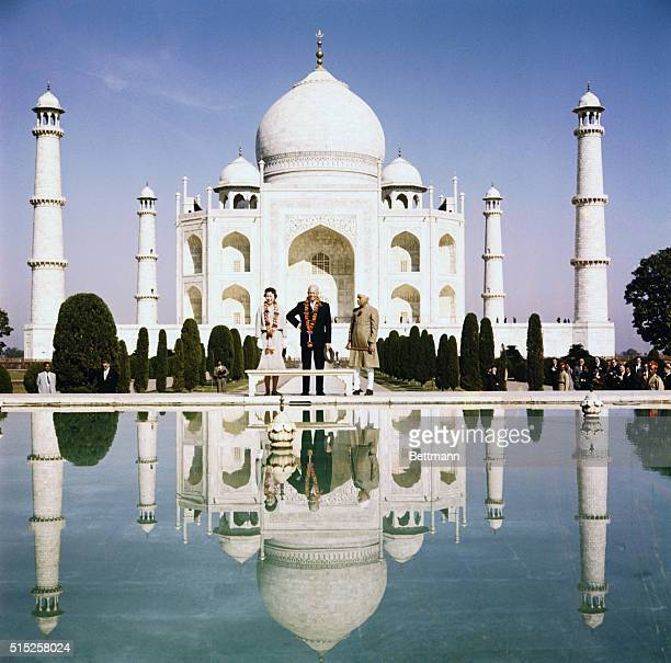 President Eisenhower visits the Taj Mahal at Agra, India.