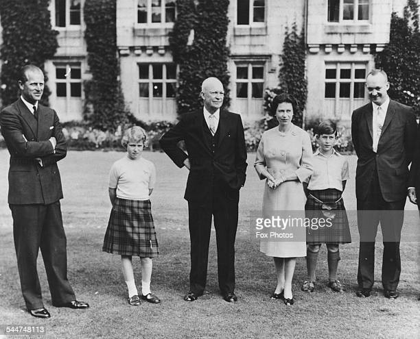 President Eisenhower with the British Royal family Prince Philip, Princess Anne, HM Queen Elizabeth, Prince Charles and Captain John Eisenhower, at...