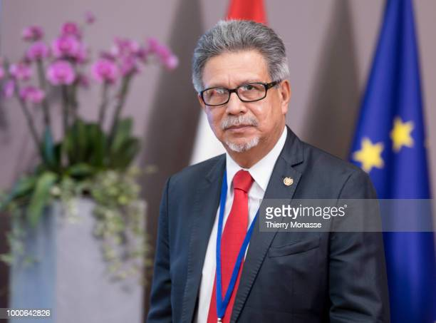 President El Salvador Foreign minister Castaneda Magana Carlos Alfredo is leaving at the end of an EUCELAC Foreign Ministers meeting at the European...