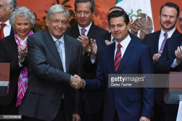 President Elect Andres Manuel Lopez Obrador and President of Mexico Enrique Peña Nieto shake hands during a press conference at Palacio Nacional on...