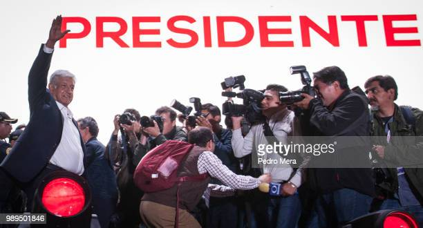 President elect Andres Manuel Lopez Obrador reacts during the celebration event at the end of the Mexico 2018 Presidential Election on July 1 2018 in...
