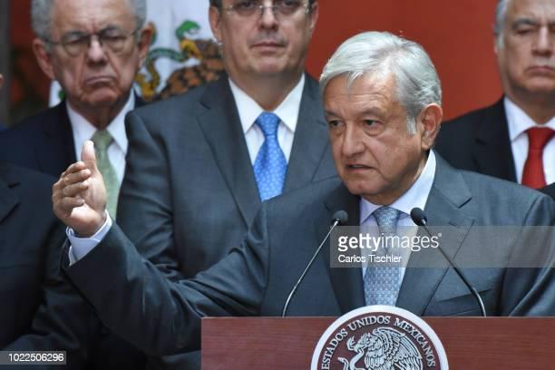 President Elect Andres Manuel Lopez Obrador speaks during a press conference at Palacio Nacional on August 20 2018 in Mexico City Mexico Obrador met...