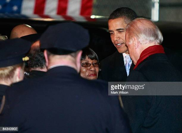 President Elect Barack Obama and Vice President Elect Joseph Biden greet Amtrak employess after getting off their train at Union Station January 17,...