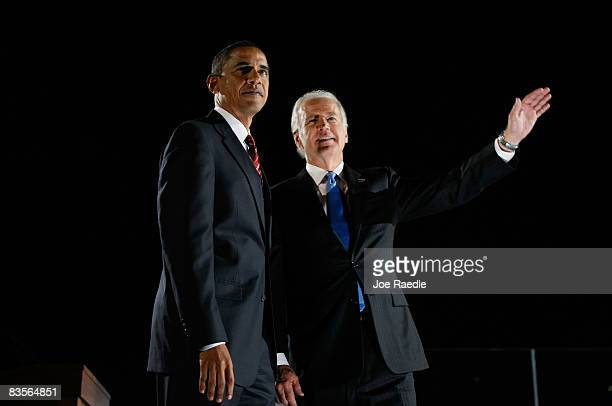S President elect Barack Obama and VicePresident elect Joe Biden acknowledge their supporters after Obama gave his victory speech during an election...