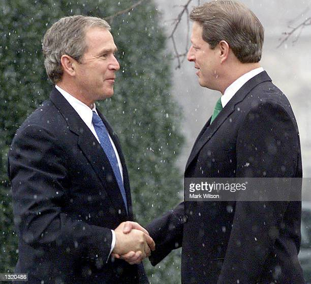 US President elect George W Bush meets with Vice President Al Gore at the Naval Observatory December 19 2000 in Washington DC