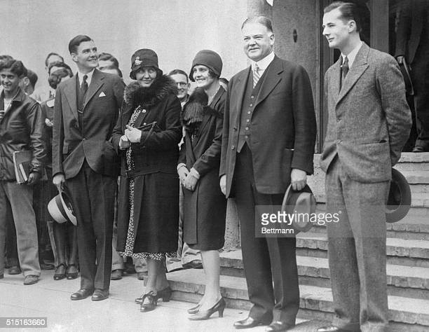 President elect home after hearing of victory Herbert Hoover Jr Mrs Herbert Hoover Mrs Herbert Hoover Jr and Allan Hoover